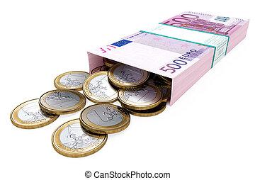 箱, ba, お金, 隔離された, 白, ユーロ