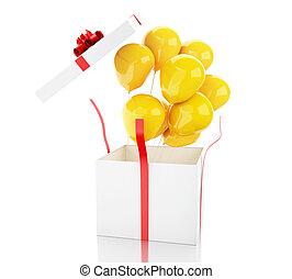 箱, balloons., 開いた, 贈り物, 3d