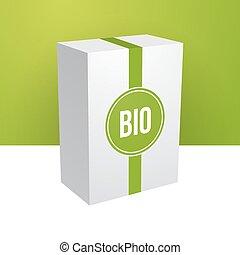 箱, bio, ステッカー, 緑の白