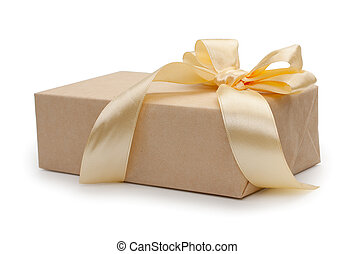 箱, bowknot, 金, 贈り物, 。, 隔離された, 黄色, ペーパー, 背景, bow., 包まれた, 終わり, 白, クラフト, プレゼント