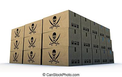 箱, cardbord, 頭骨, 海賊