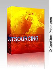 箱, globalization, outsourcing, イラスト, パッケージ
