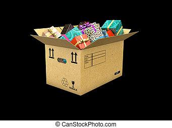 箱, illustration., 隔離された, 贈り物, 背景, 黒, 3d