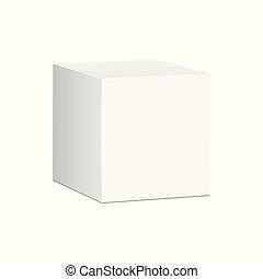 箱, illustration., mockup, パッケージ, ベクトル, ブランク, 白, カートン, icon., 3d