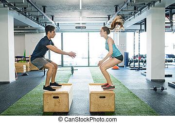 箱, jumps., フィットしなさい, 恋人, 運動, 若い, ジム