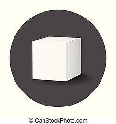 箱, mockup, パッケージ, イラスト, ベクトル, 長い間, icon., ブランク, 白, カートン, shadow., 3d