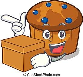 箱, mufin, 特徴, ブルーベリー, 漫画