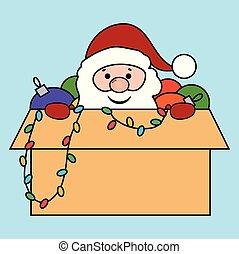 箱, santa, クリスマス, おもちゃ
