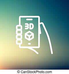 箱, smartphone, 薄いライン, アイコン, 3d