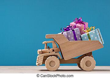 箱, truck., ダンパ, 贈り物