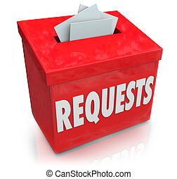 箱, wants, 欲求, 考え, 堤出しなさい, 提案, requests