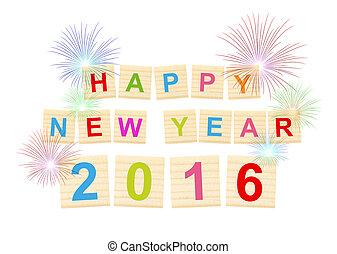 節日, 慶祝, 新年快樂, 2016!, -, 正文, 在, 木頭, 類型, 塊, 在懷特上, 背景