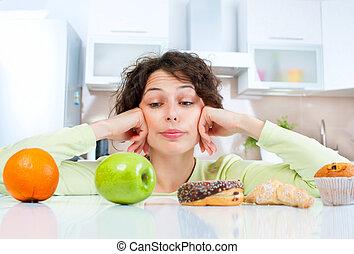 節食, concept., 年輕婦女, 選擇, 在之間, 水果, 以及, 甜食