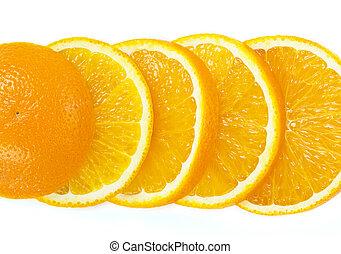 範囲, の, オレンジ, フルーツ, 背景, 隔離された, 白