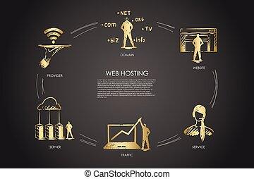 範囲, hosting, プロバイダ, ウェブサイト, 概念, 網, 交通