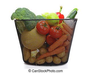 篮子, 充足, 在中, 新鲜, 色彩丰富, 蔬菜