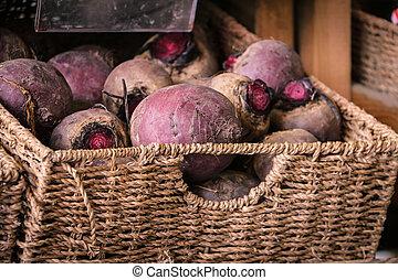 篮子, 在中, beetroot, 蔬菜, 在中, a, 市场