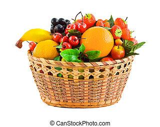 篮子, 带, 水果