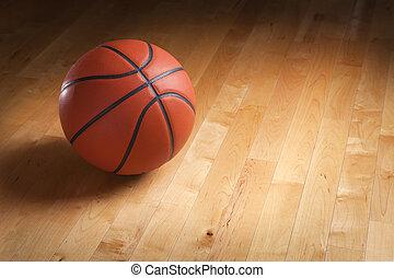 篮球场, 地板, 硬木, 辨认出, 点燃