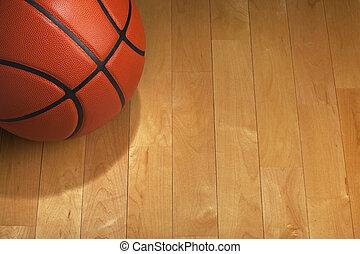 篮球, 地板, 体育馆, 辨认出, 树木, 点燃
