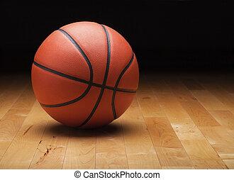 篮球, 地板, 体育馆, 黑暗, 树木, 背景