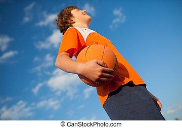 篮球, 天空, 对, 表演者, 球, 握住