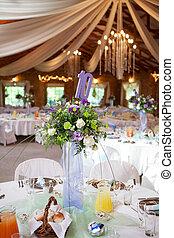 簀の目紙テーブル, ∥で∥, 花, そして, 装飾, ∥において∥, 結婚式 受信