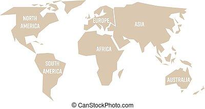 地図 シルエット 平ら Continents 分けられる 6 灰色 イラスト