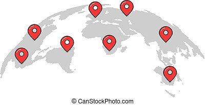 簡單, 世界, 別針, 地圖