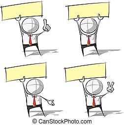 簡單, 商業界人士, -, 舉起, a, 標簽