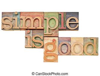 簡單, 是, 好, -, 簡單, 概念, 概念, -i, solated, 正文, 在, 葡萄酒, 木頭,...
