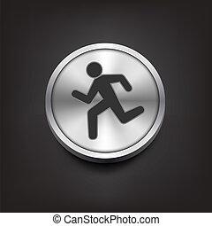 簡單, 跑, 人類, 圖象, 黑色半面畫像