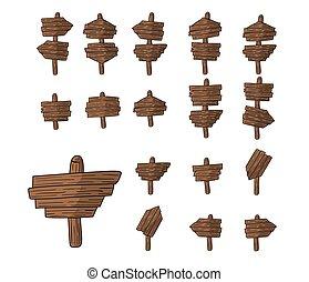 簡單, 集合, ......的, 木制, 盤子, 罐頭, 是, 符號