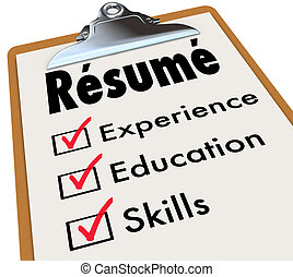 簡歷, 剪貼板, 清單, 資格, 教育, 經驗, 技能