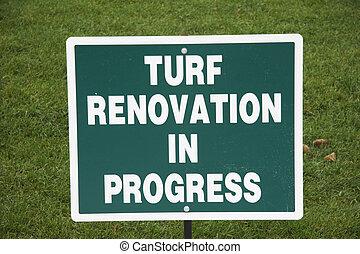 簽署, -, 草皮, 革新, 在, 進展