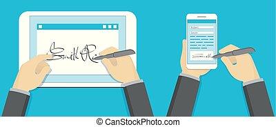 簽署, smartphone, 片劑, 概念, 簽名, 個人電腦, 數字