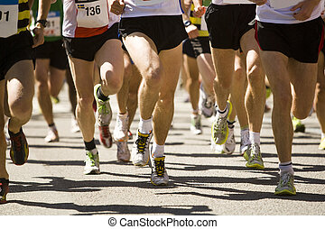 簽, ......的, 人們, 跑, 在, a, 運動, 游戲