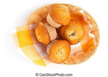 籃子, 松餅, 白色, 被隔离, 背景