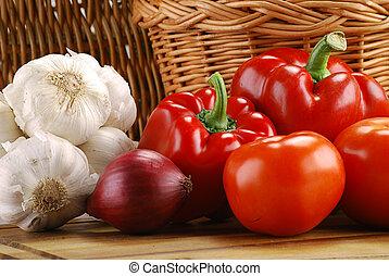 籃子, 柳條, 蔬菜, 作品, 未加工