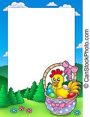 籃子, 框架, 復活節, 小雞