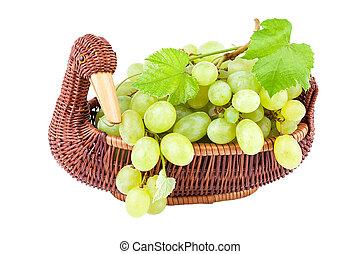 籃子, 白色, 被隔离, 葡萄