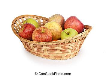 籃子, 白色, 被隔离, 蘋果