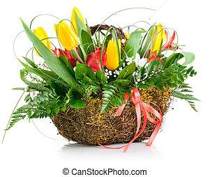 籃子, ......的, 黃色的郁金香, 花