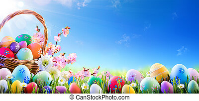 籃子, 蛋, 復活節, 草地