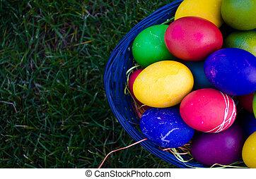籃子, 蛋, 復活節, 草地, 鮮艷