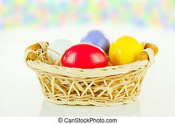 籃子, 蛋, 復活節, 鮮艷