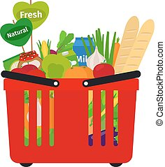 籃子, 購物, 超級市場