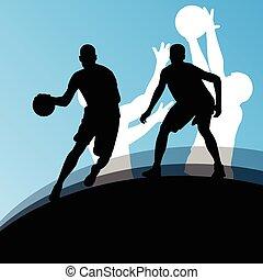 籃球運動員, 活躍, 運動, 黑色半面畫像, 矢量, 背景, il
