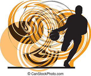 籃球選手, 在, action., 矢量