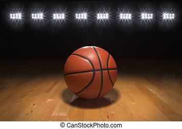 籃球, 上, 木地板, 在下面, 明亮的 光